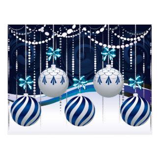 Cartão Postal Xmas azul e branco Balls3