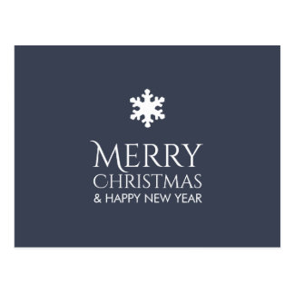 Cartão Postal Xmas azul elegante simples do floco de neve