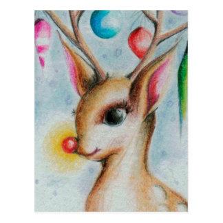 Cartão Postal Xmas Bambi do vintage