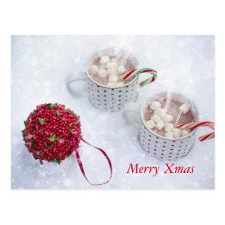 Cartão Postal Xmas da feliz - Chocolate na neve
