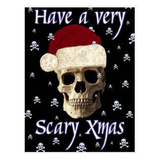 Cartão Postal Xmas gótico do Natal do crânio do humor engraçado