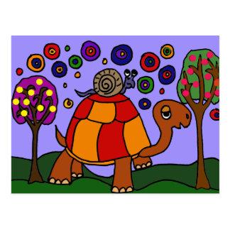 Cartão Postal XX- arte popular da tartaruga da equitação do
