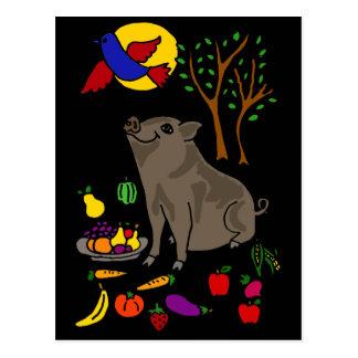 Cartão Postal XX- design inchado pote da arte popular do porco e