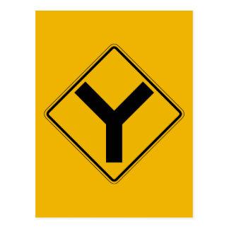 Cartão Postal Y-símbolo, sinal de aviso do tráfego, EUA