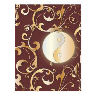 Cartão Postal Yin dourado & Yang com rolos
