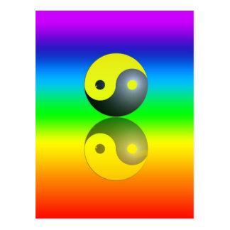Cartão Postal Yin & Yang símbolo em Chakra cores motivo 1