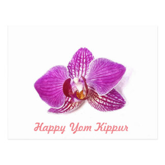 Cartão Postal Yom Kipur feliz, arte floral da orquídea do Lilac
