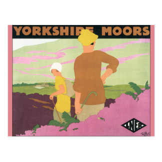 Cartão Postal Yorkshire amarra o poster das viagens vintage
