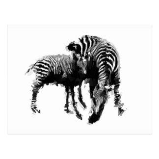 Cartão Postal Zebra da mamã e do bebê
