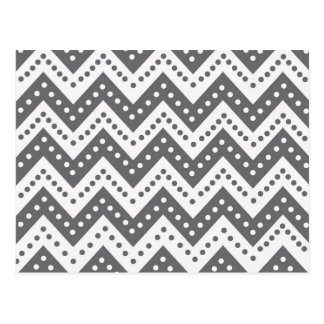 Cartão Postal Ziguezagues cinzentos bonitos de Polkadot