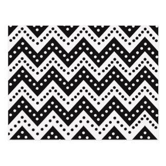 Cartão Postal Ziguezagues pretos bonitos de Polkadot