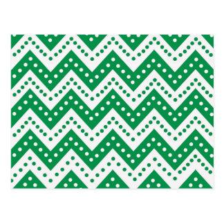 Cartão Postal Ziguezagues verdes bonitos de Polkadot