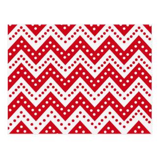 Cartão Postal Ziguezagues vermelhos bonitos de Polkadot