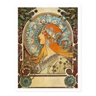 Cartão Postal Zodíaco por Alphonse Mucha