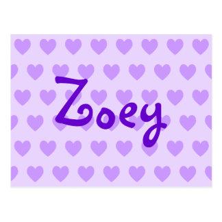 Cartão Postal Zoey no roxo