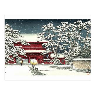 """Cartão Postal """"Zojoji na neve"""" pelo 川瀬巴水 de Kawase Hasui"""