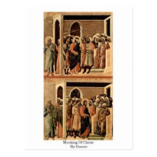 Cartão Postal Zombaria do cristo por Duccio