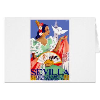 Cartão Poster 1952 justo de abril da espanha de Sevilha