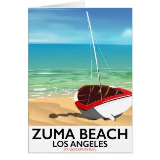 Cartão Poster da praia do trilho do LA da praia de Zuma