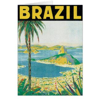 Cartão Poster das viagens vintage de Brasil