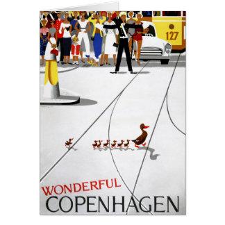 Cartão Poster das viagens vintage de Copenhaga restaurado