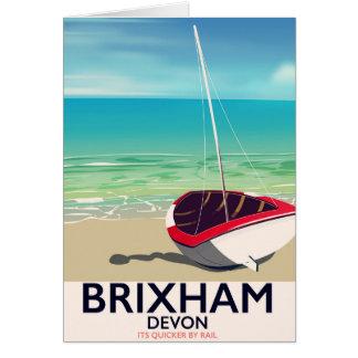Cartão Poster das viagens vintage de Devon da praia de