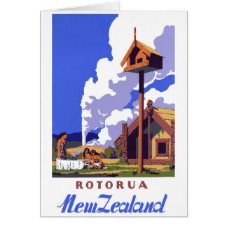 Cartão Poster das viagens vintage de Nova Zelândia