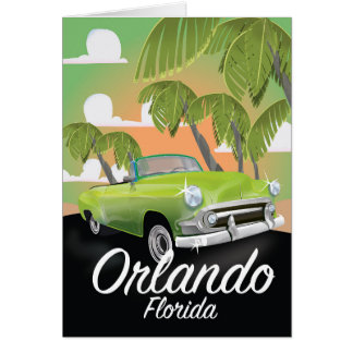 Cartão Poster das viagens vintage de Orlando Florida