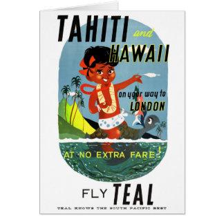 Cartão Poster das viagens vintage de Tahiti Havaí