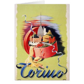Cartão Poster das viagens vintage de Torino Turin Italia