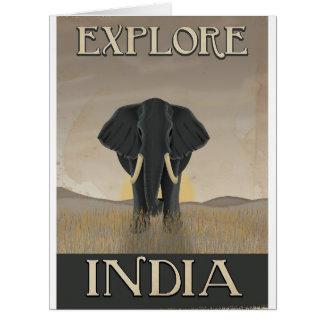 Cartão Poster das viagens vintage do elefante de India