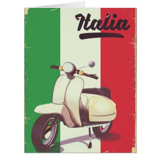 Cartão Poster das viagens vintage do patinete de Italia