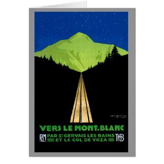 Cartão Poster das viagens vintage dos cumes de Mont Blanc