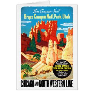 Cartão Poster das viagens vintage dos EUA Utá restaurado