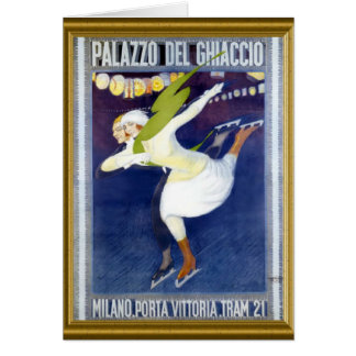 Cartão Poster de patinagem italiano do vintage