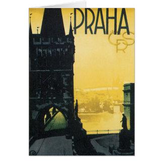 Cartão Poster de Praha do vintage