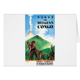Cartão Poster de viagens 1939 dos elefantes de Congo
