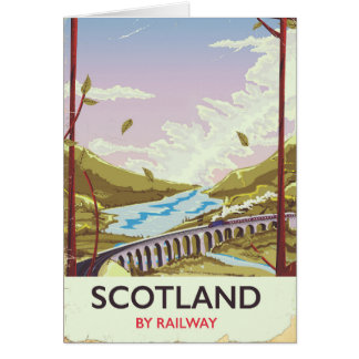 Cartão Poster de viagens da locomotiva do vintage de