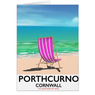 Cartão Poster de viagens da praia de Porthcurno Cornualha