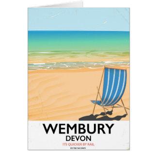 Cartão Poster de viagens da praia de Wembury Devon