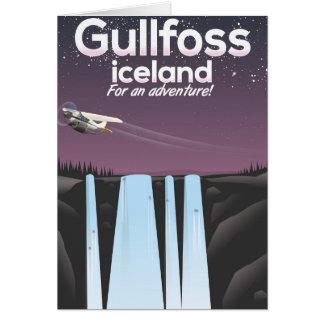 Cartão Poster de viagens de Islândia da cachoeira de