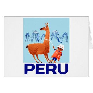 Cartão Poster de viagens de Peru da criança e do lama do
