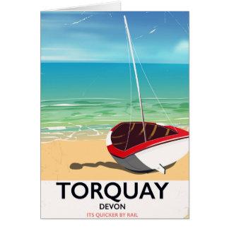 Cartão Poster de viagens do beira-mar do vintage de