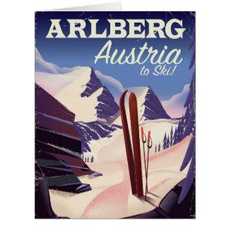 Cartão Poster de viagens do esqui de Arlberg Áustria