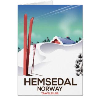 Cartão Poster de viagens do esqui de Hemsedal Noruega