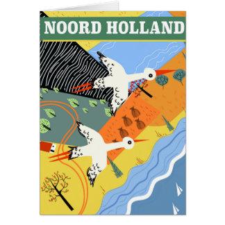 Cartão Poster de viagens do estilo do vintage de Noord