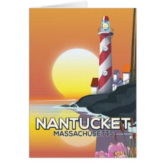 Cartão Poster de viagens do farol de Nantucket