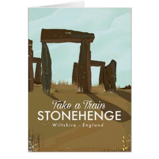 Cartão Poster de viagens do trem de Stonehenge Wiltshire