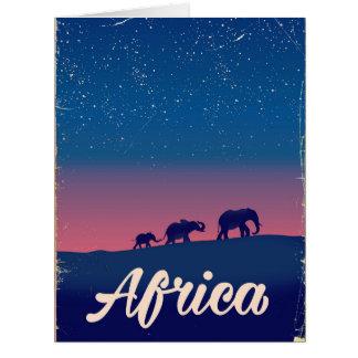 Cartão Poster de viagens dos elefantes do vintage de