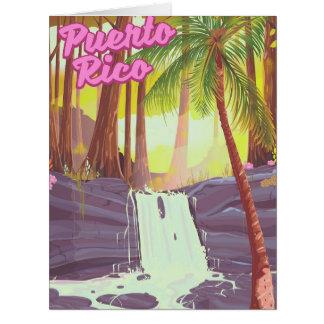 Cartão Poster de viagens tropical da palma de Puerto Rico